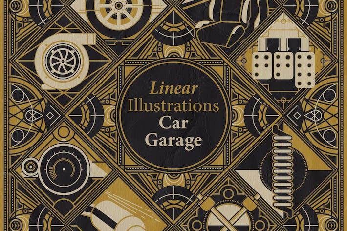 Lineare Illustrationen - Auto & Garage