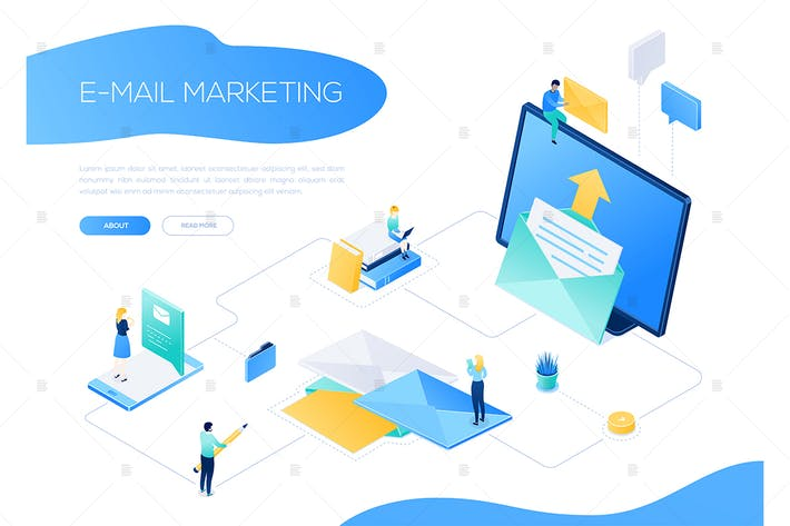 Thumbnail for Email marketing - colorful isometric web banner