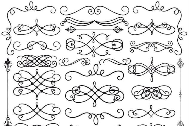 Hand Drawn Black Doodle Design Elements. Dividers.