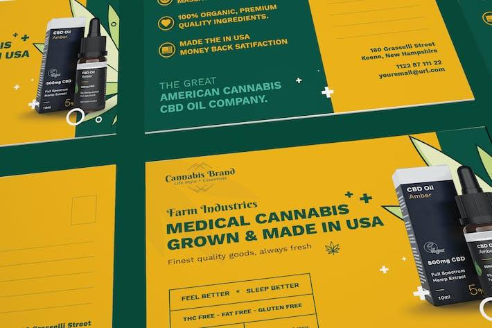 Thumbnail for Cannabis Hemp Oil Products Postcard PSD Template