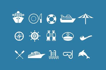 15 Cruise Holiday Icons