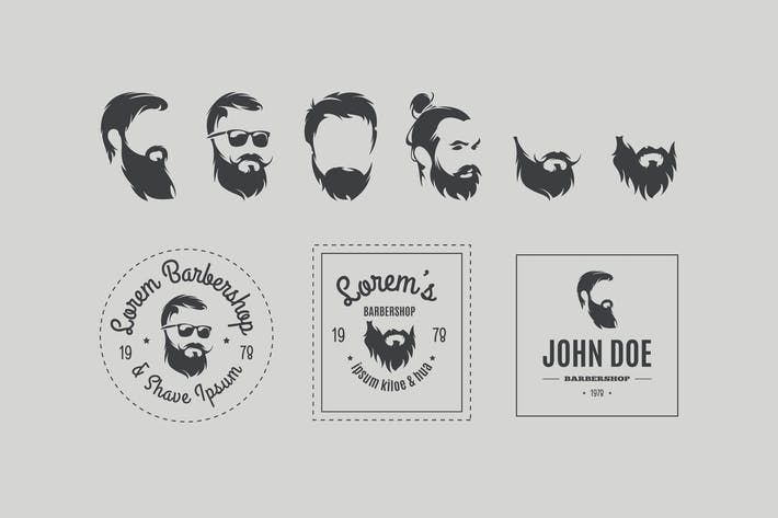 Cover Image For Barbershop Vektor-Icons Set