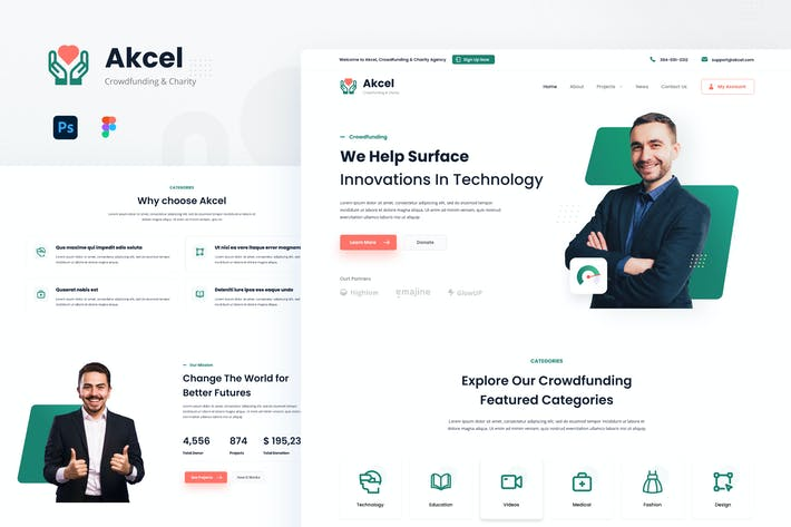 Akcel - Modern Crowdfunding Charity Website Design