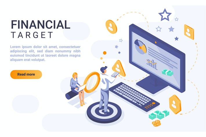 Thumbnail for Finance Isometric Header Flat Concept