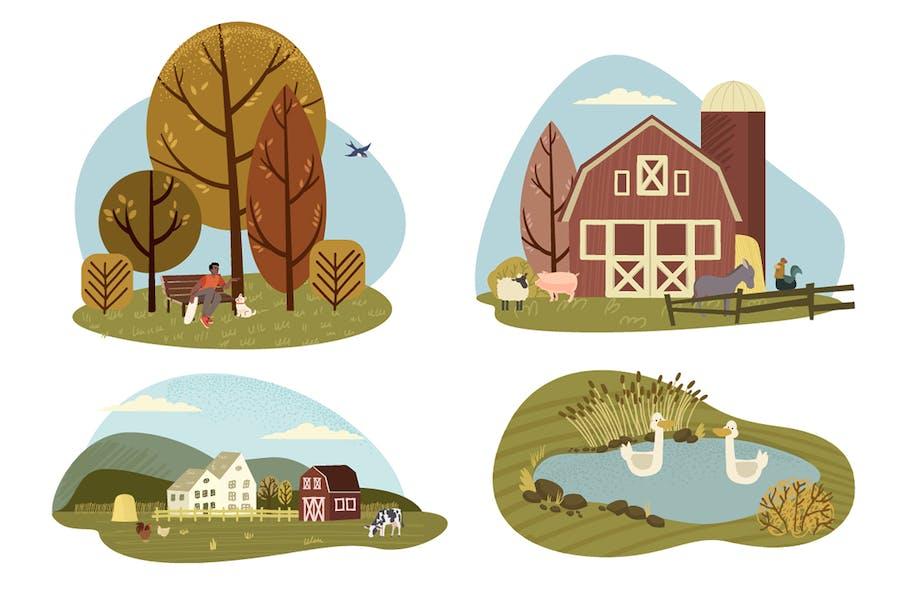 Illustrationen der Natur und des ländlichen Raums