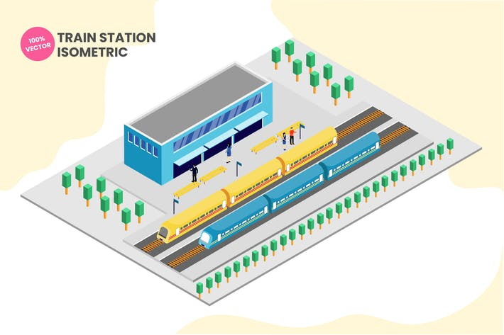 Thumbnail for Isometric Train Station Vector Illustration