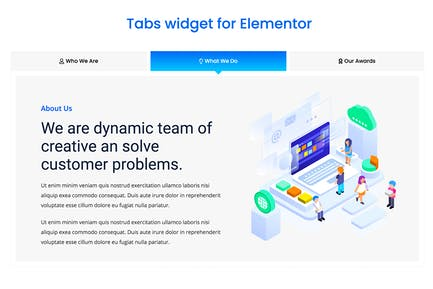 Elementor Tabs addon, widget