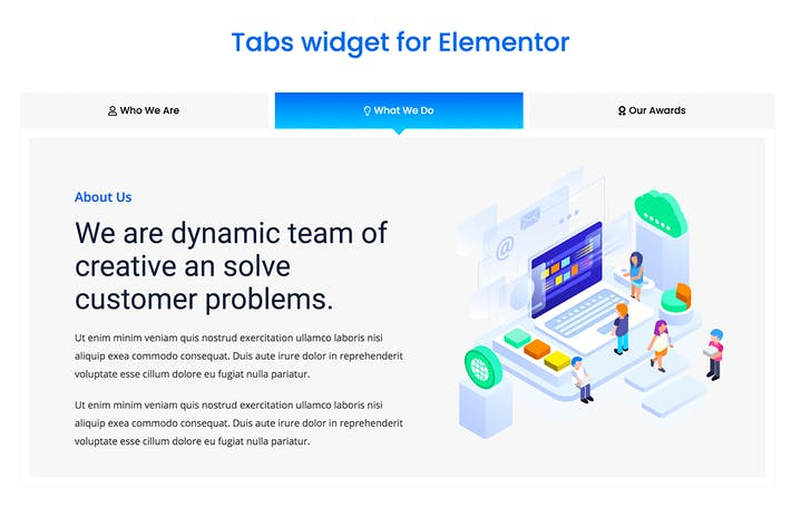 Thumbnail for Elementor Tabs addon, widget