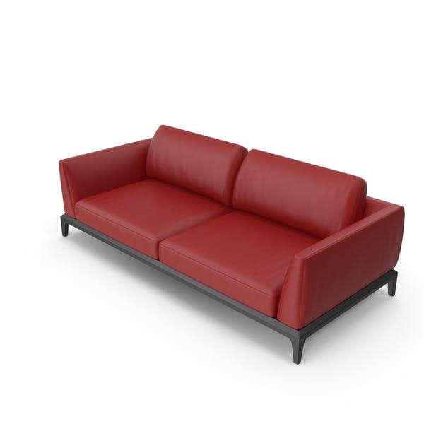 Red Leatheri Akita Sofa