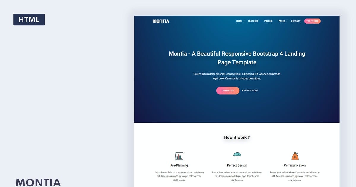 Download Montia - Landing Page Template by Themesbrand