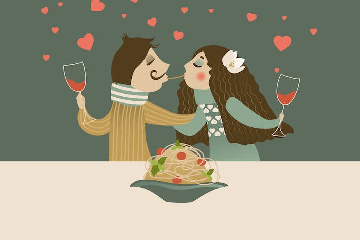 Thumbnail for Couple in love eating spaghetti. Vector