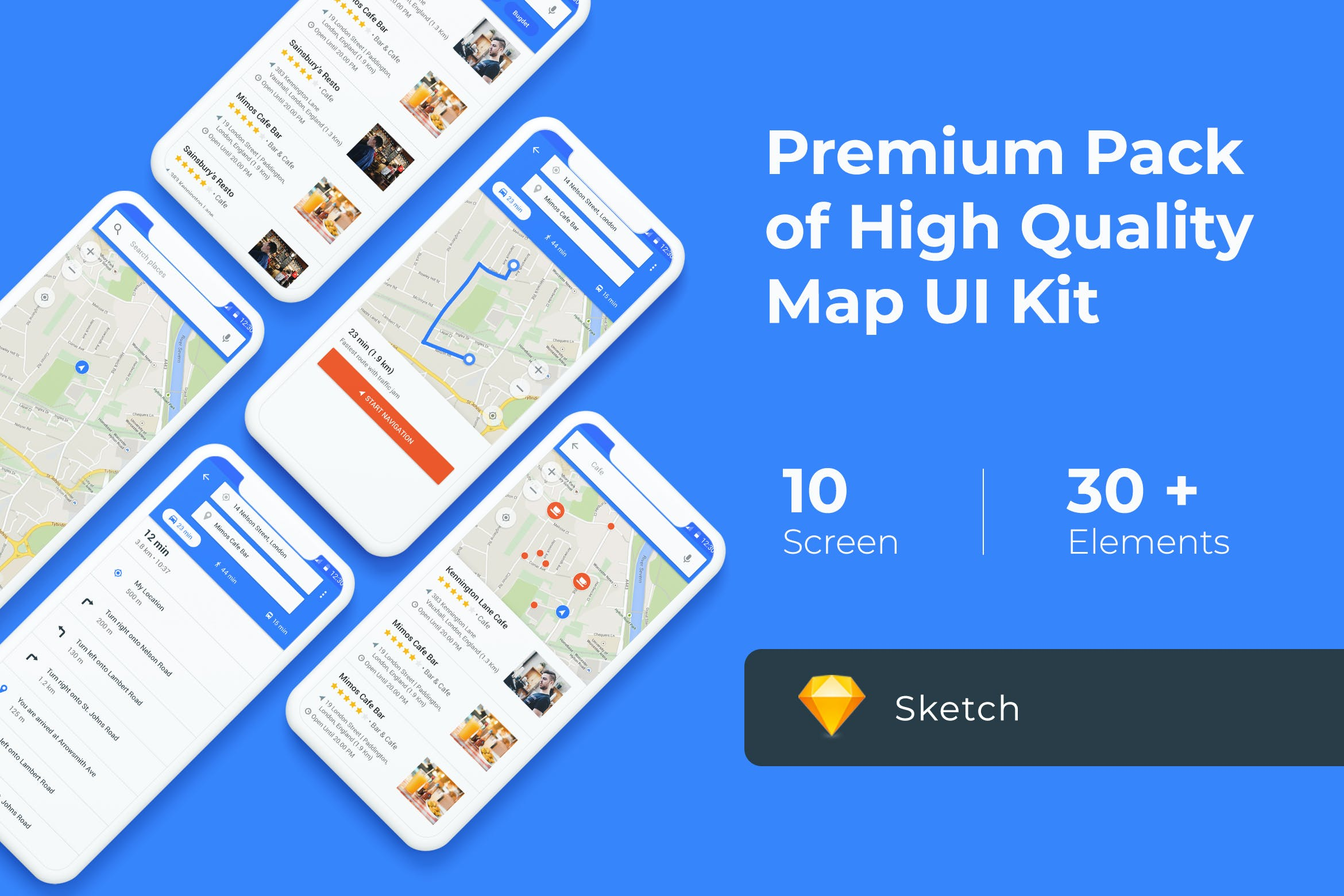 Map & Navigation UI KIT for XD by uicreativenet on Envato