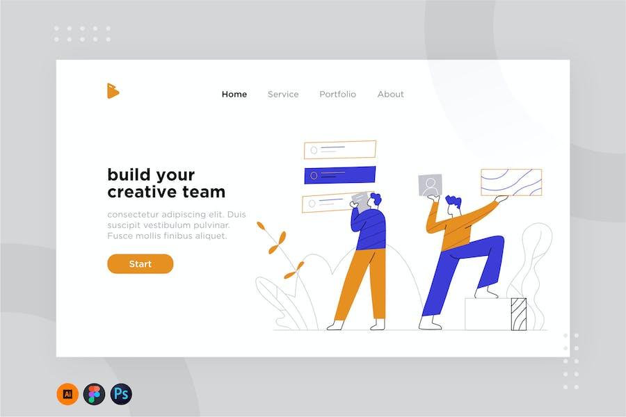 Team work illustration for website 1.2