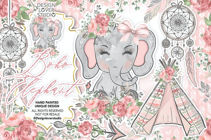 Thumbnail for Boho éléphant design mignon