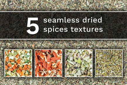 Set of 5 different dried spices texture