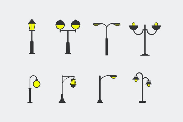 Thumbnail for 8 Street Lamp Icons