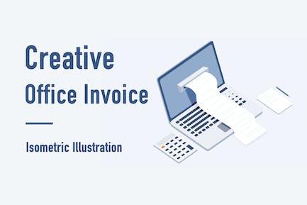 Creative Office Invoice Isometric Illustration