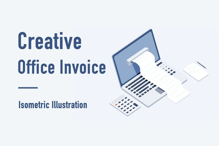 Thumbnail for Creative Office Invoice Isometric Illustration
