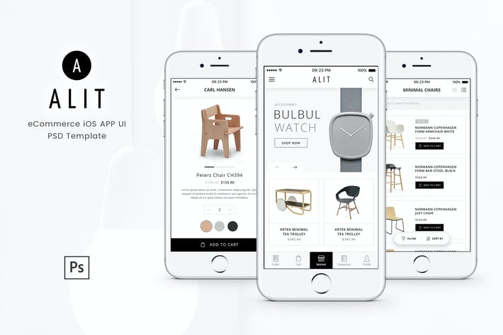 Alit - Minimalist eCommerce PSD UI for iOS App