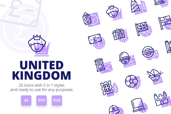 Thumbnail for United Kingdom Icons (Line and Solid)