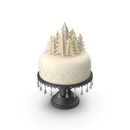 Christmas Cake with Trees and Snowflakes