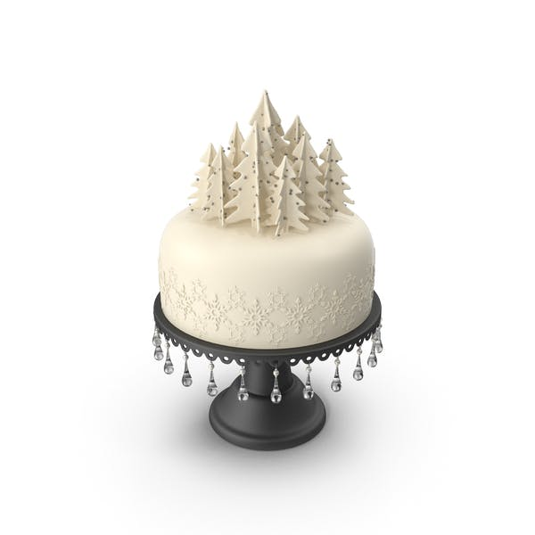 Thumbnail for Christmas Cake with Trees and Snowflakes