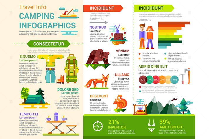 Cover Image For Camping Infographics - flat design style poster