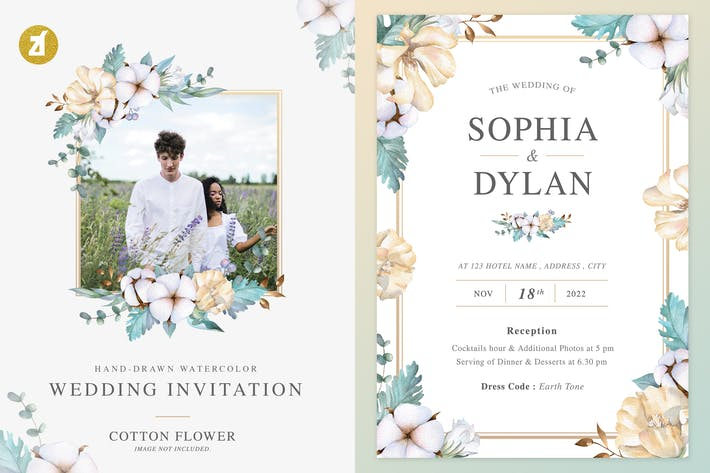Cotton flower Watercolor Wedding Invitation