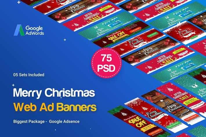 Cover Image For Merry Christmas Banners Ads - 75PSD [05 Set]