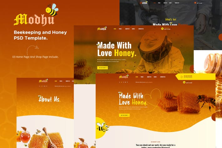 Modhu - Beekeeping and Honey PSD Template