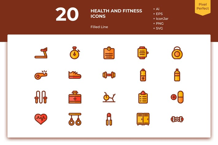 Thumbnail for 20 Health and Fitness Icons (Filled Line)