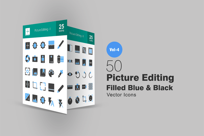 Thumbnail for 50 Picture Editing Blue & Black Icons