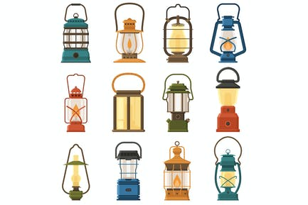 Vintage Camping Lamps and Lanterns Icons
