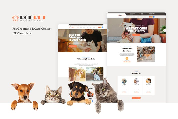 Thumbnail for Poopet - Pet Grooming & Care Center PSD Template
