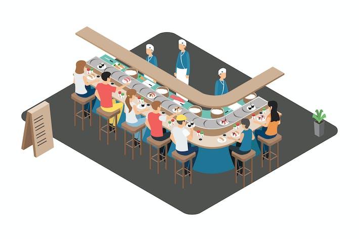 Thumbnail for Japanesse Restaurant Isometric Illustration