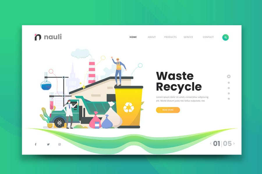 Waste Recycle Web PSD and AI Vector Template