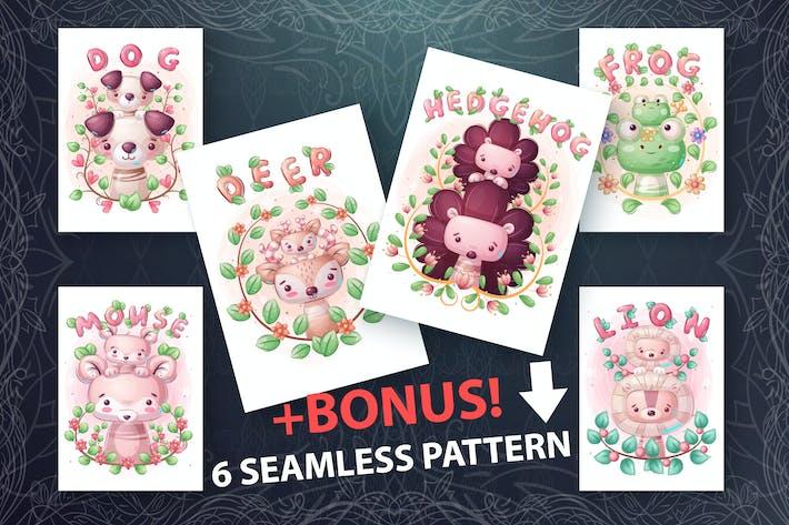 Thumbnail for Ensemble mignon famille d'animaux et motif sans couture