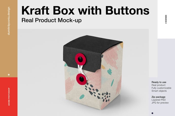 Small Kraft Box with Buttons