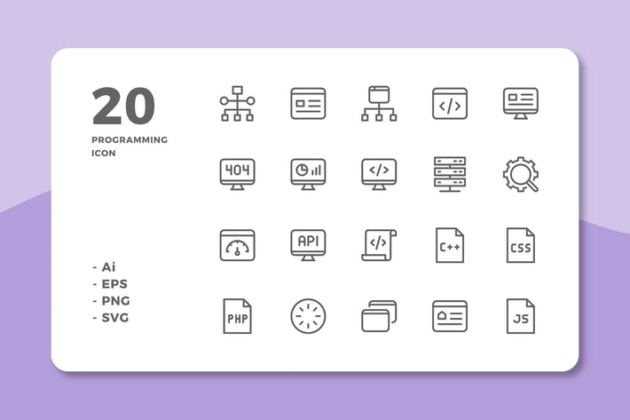 Thumbnail for 20 Programming Icons (Line)