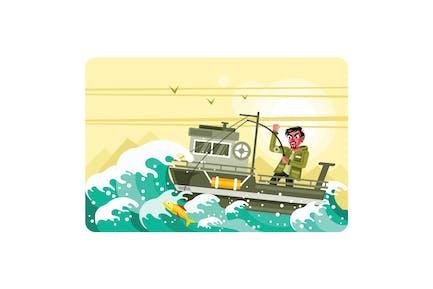 Fischer auf dem Boot