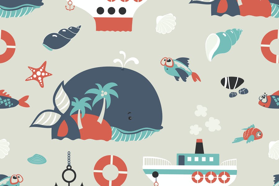 Seamless vector background with cute sea objects