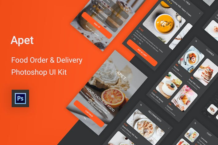 Thumbnail for Apet - Food Order & Delivery Photoshop UI Kit