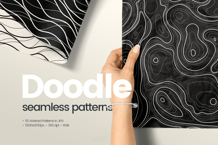 Thumbnail for 50 Abstract Doodle Seamless Patterns