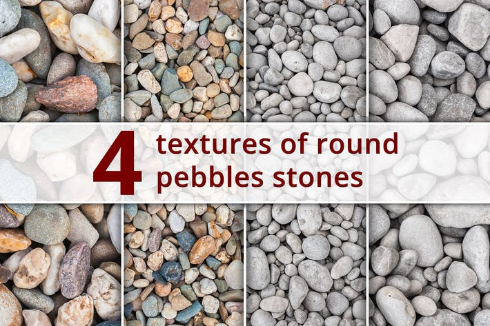 Thumbnail for Set of 4 Textures of Round Pebble Stones