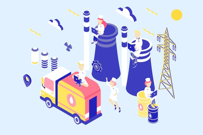 Thumbnail for Power Industry Isometric Illustration