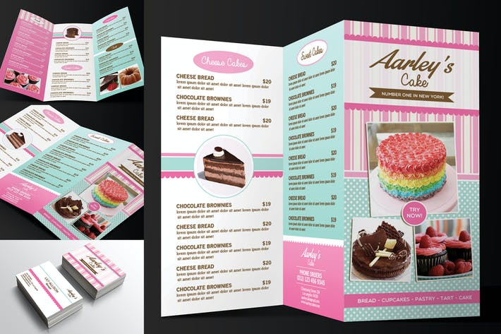 Thumbnail for Trifold Cake Menu + Business Card