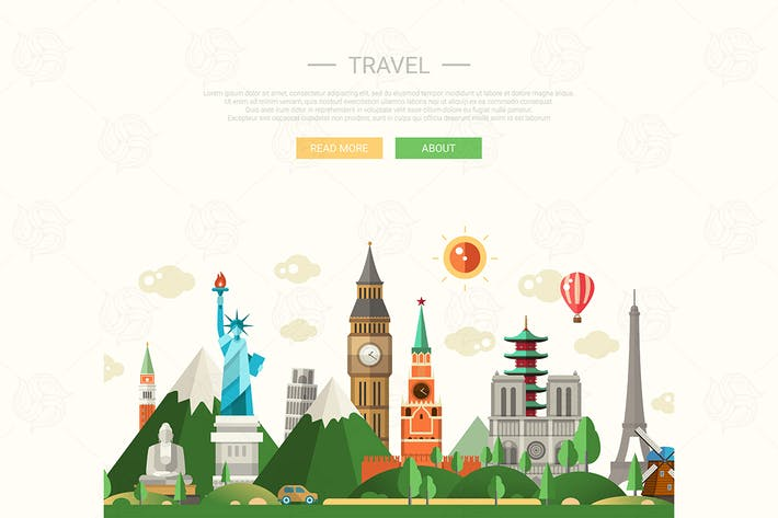 Thumbnail for Travel - flat design composition illustration