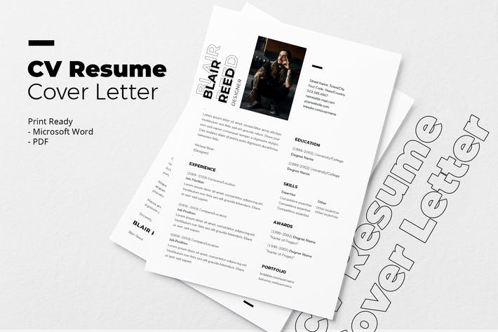 Thumbnail for Blair Reed - CV Resume Template