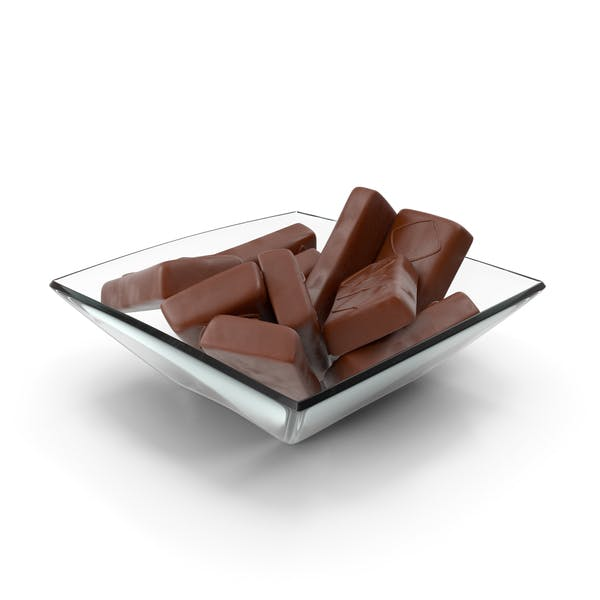 Square Bowl with Sponge Cakes in Crisp Chocolate Cover