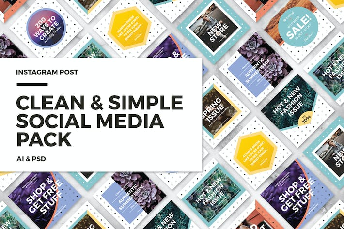 Thumbnail for Clean & Simple - Social Media Pack